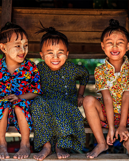 Happy children laughing in Myanmar