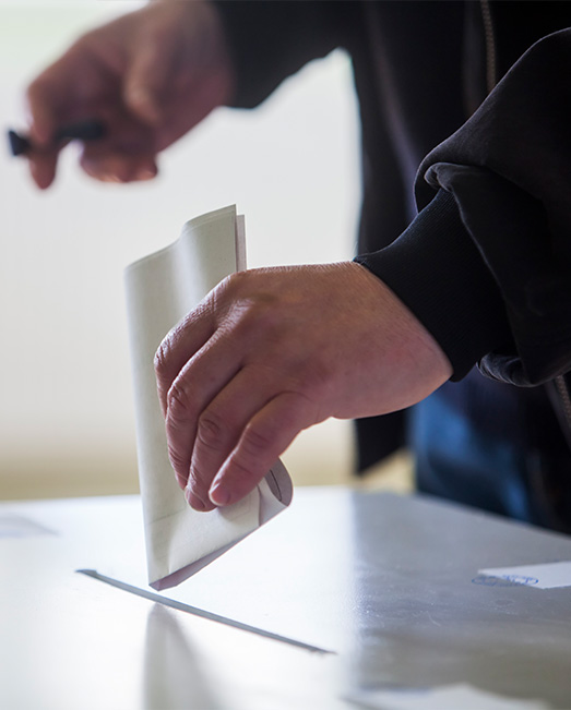 Man voting at an election